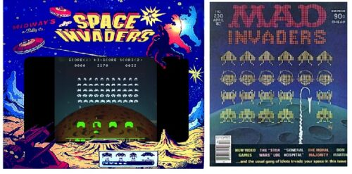 Left: Space Invaders with overlay; Right : Mad Magazine #230 (April 1982)
