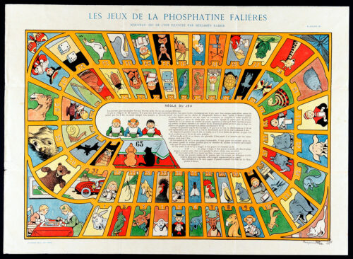 Nouveau jeu de l'oie illustré par Benjamin Rabier, série Les jeux de la phosphatine Falières, Paris, Devambez (grav. impr.), 1906.